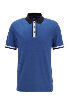 Slim-fit polo shirt in cotton with block stripes, Light Blue