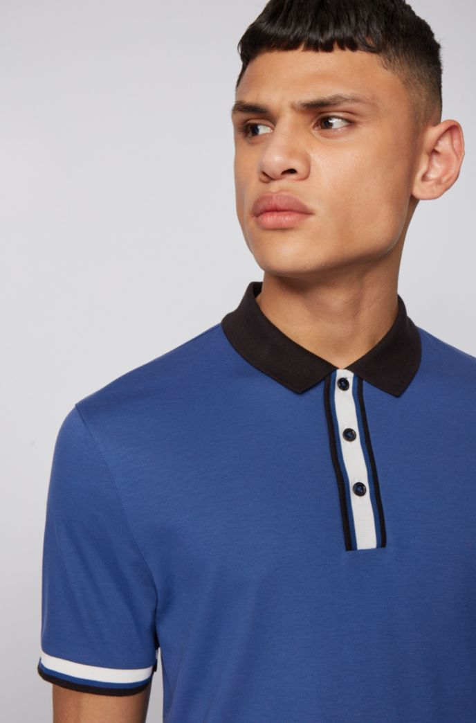Slim-fit polo shirt in cotton with block stripes