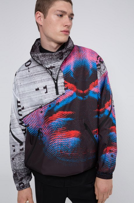 Relaxed-fit windbreaker jacket with graphic print, Patterned