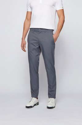 Slim-fit pants in water-repellent technical twill, Dark Grey