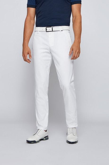 Slim-fit pants in water-repellent technical twill, White