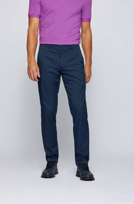 Slim-fit pants in water-repellent technical twill, Dark Blue