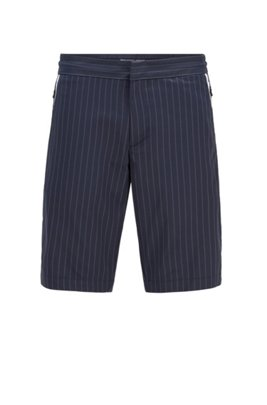 Slim-fit shorts in technical pinstripe fabric, Dark Blue