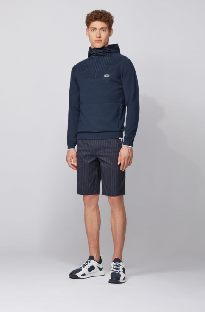 Slim-fit shorts in technical pinstripe fabric