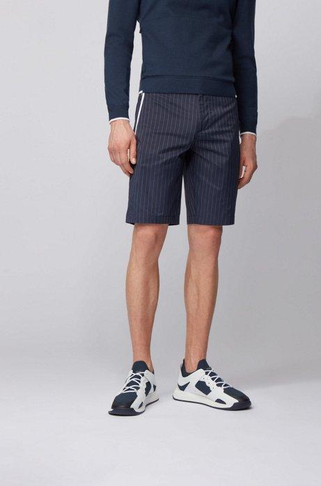Slim-fit shorts in technical pinstripe fabric, Dark Blue