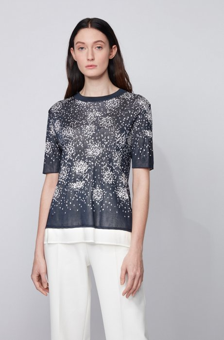 Short-sleeved sweater with jacquard-knitted design, Patterned