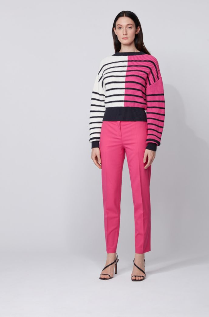 Relaxed-fit sweater with color-blocking and stripes