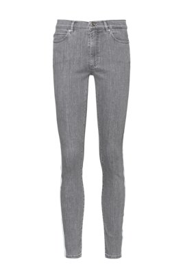 LOU skinny-fit cropped jeans in light-gray stretch denim, Grey