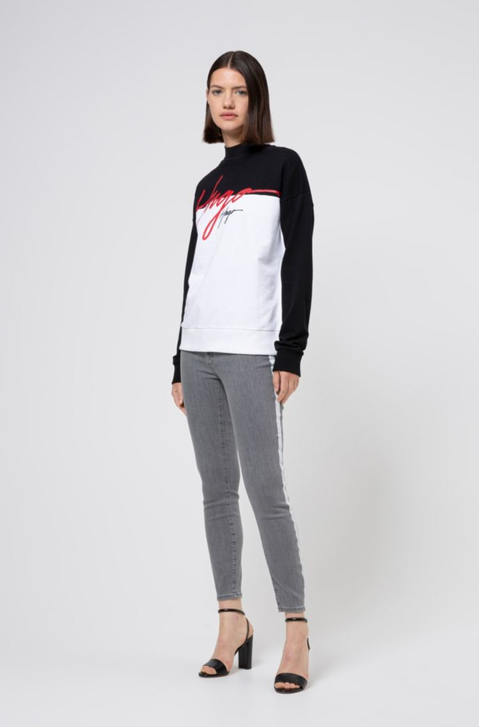 LOU skinny-fit cropped jeans in light-gray stretch denim