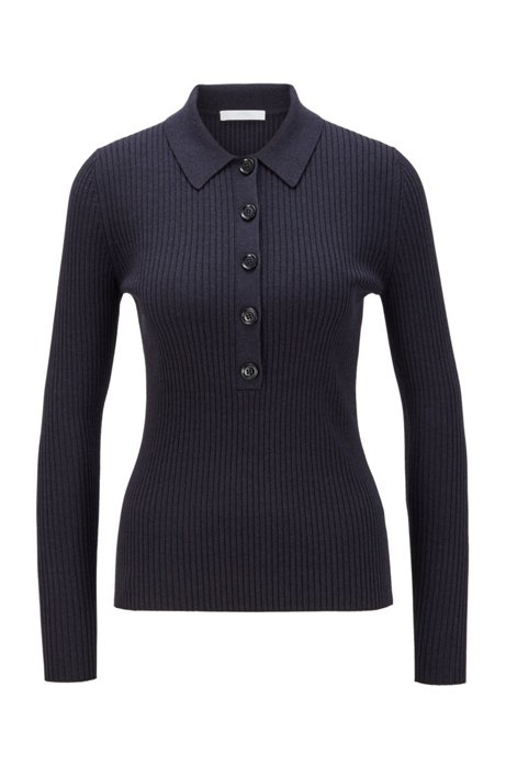 Slim-fit ribbed sweater with polo collar, Light Blue