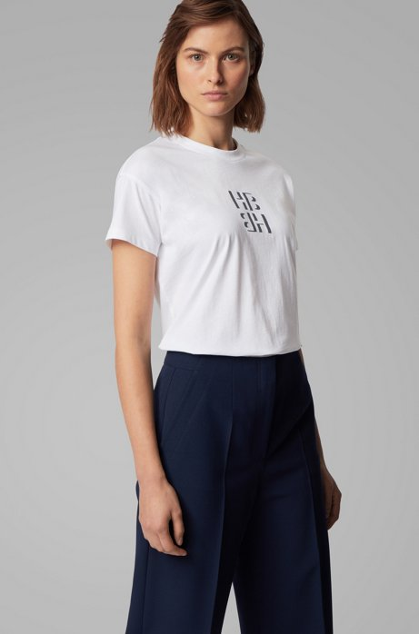Regular-fit monogram top in recycled cotton, Open Blue