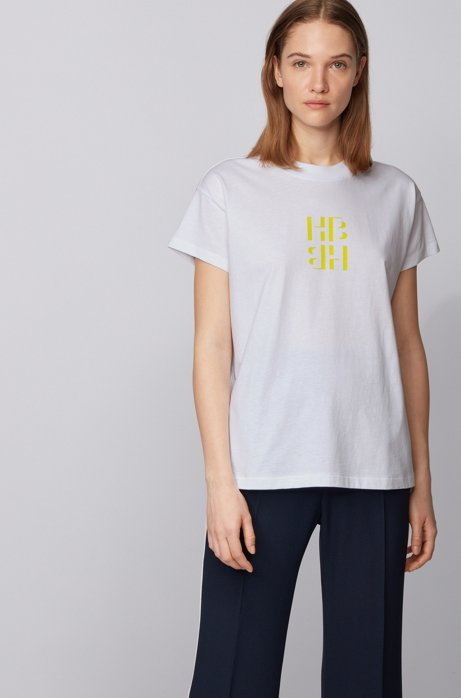 Regular-fit monogram top in recycled cotton, Yellow