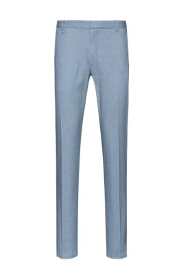Extra-slim-fit pants in two-tone birdseye stretch cotton, Light Blue