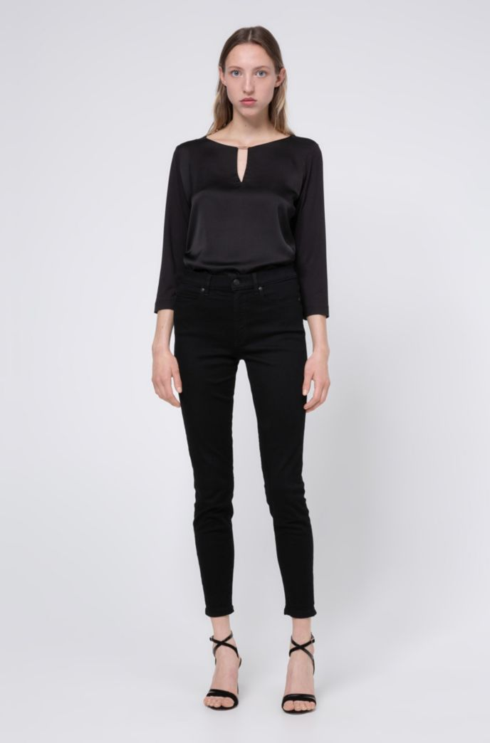 CHARLIE super-skinny-fit cropped jeans with side-slit hems