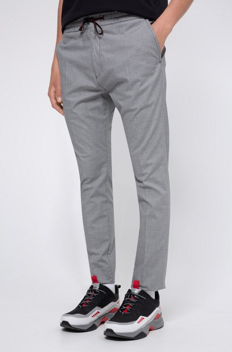 Seersucker tapered-fit pants with logo-print drawstring, Light Grey