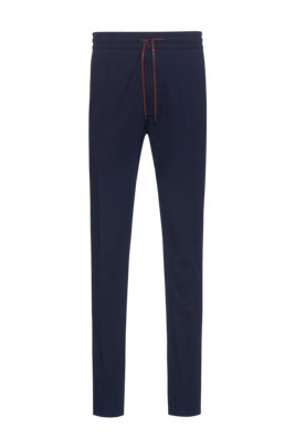 Seersucker tapered-fit pants with logo-print drawstring, Dark Blue