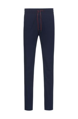 Seersucker tapered-fit pants with logo-print drawstring, Dark Blue