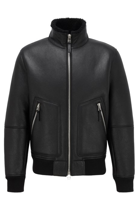 Lambskin jacket with shearling inner, Black