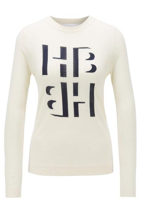 Slim-fit sweater with monogram intarsia in merino wool, Natural