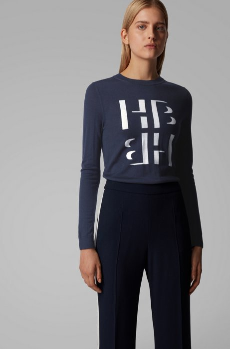 Slim-fit sweater with monogram intarsia in merino wool, Open Blue