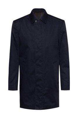Slim-fit automobile coat in water-repellent fabric, Dark Blue