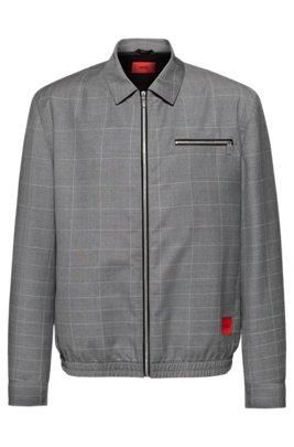 Regular-fit jacket in dégradé-check virgin wool, Light Grey