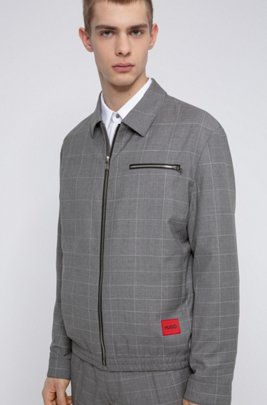 Regular-fit jacket in dégradé-check virgin wool, Light Grey