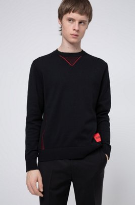 Cotton oversized-fit sweater with contrast elements, Black