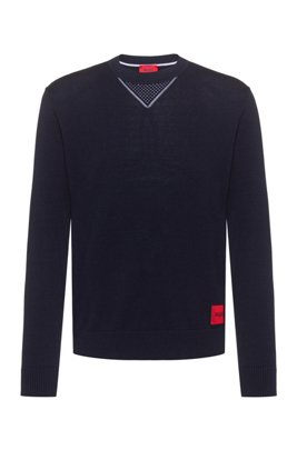 Cotton oversized-fit sweater with contrast elements, Dark Blue