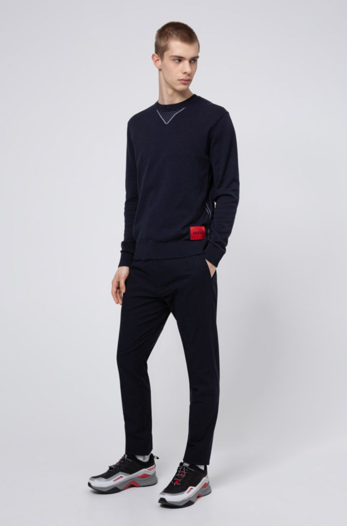 Cotton oversized-fit sweater with contrast elements