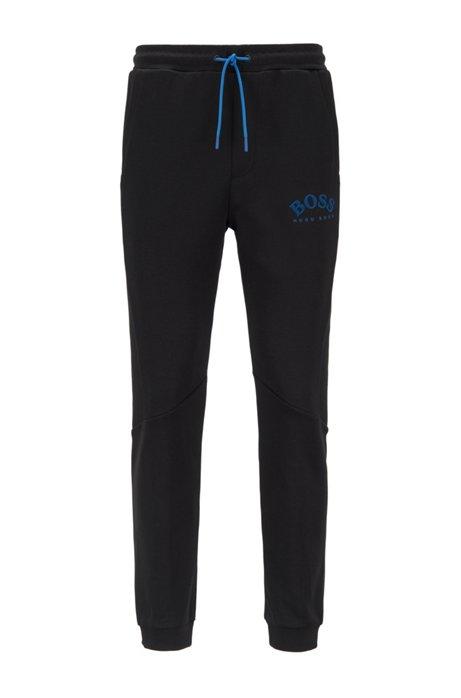 Slim-fit jogging pants with color-block insert, Black
