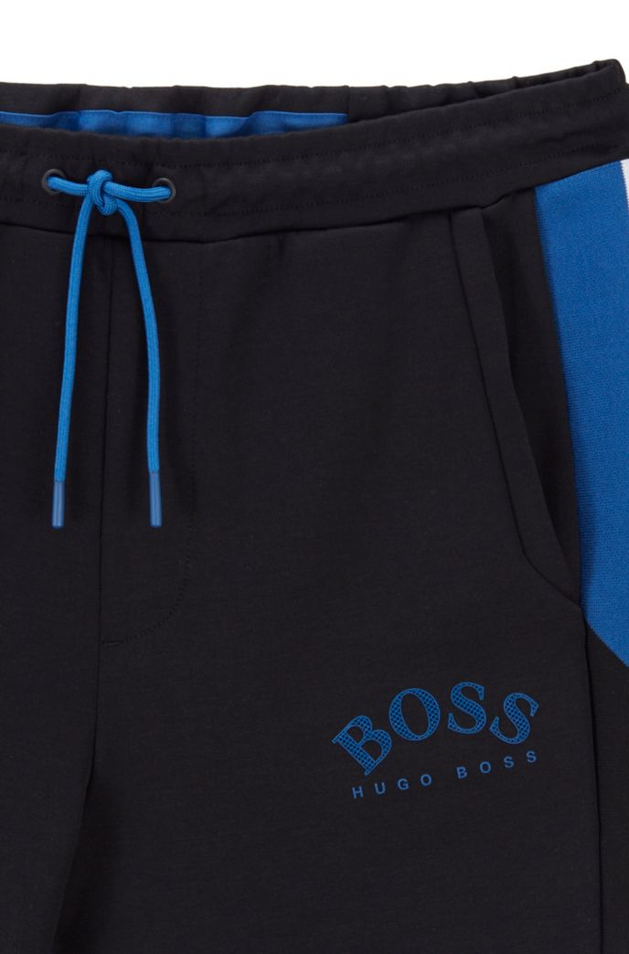 Slim-fit jogging pants with color-block insert