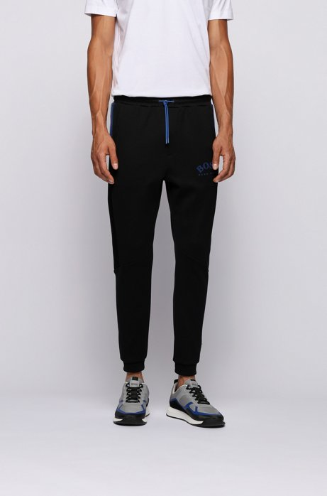 Slim-fit jogging pants with color-block insert, Black