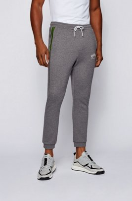 Slim-fit jogging pants with color-block insert, Grey