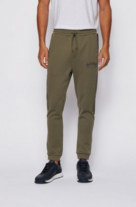 Slim-fit jogging pants with color-block insert, Dark Green