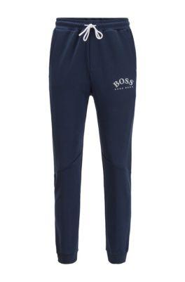 Slim-fit jogging pants with color-block insert, Dark Blue