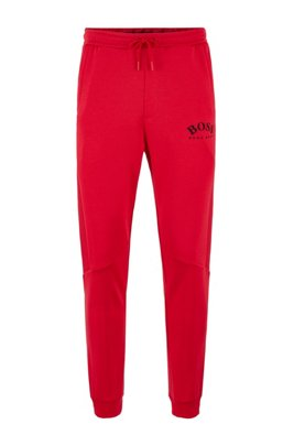 Slim-fit jogging pants with color-block insert, Red