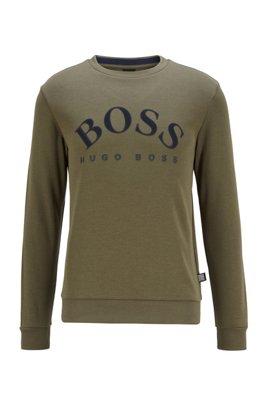 Crew-neck sweatshirt with contrast logo print, Dark Green