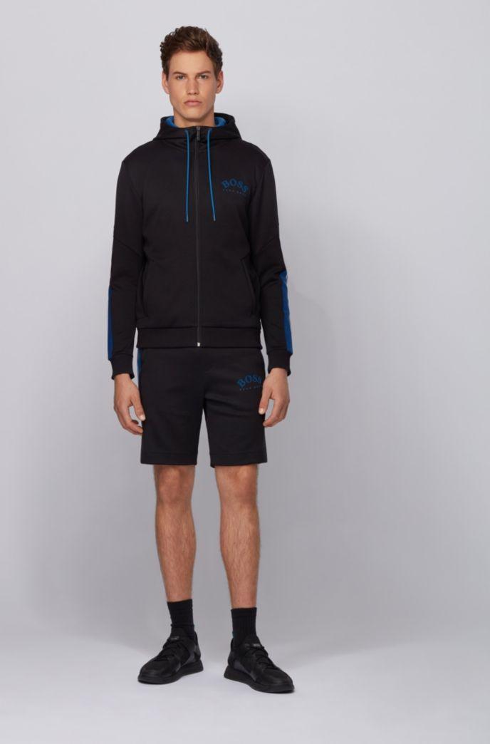 Regular-fit hooded sweatshirt with color-block sleeve detail