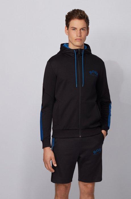 Regular-fit hooded sweatshirt with color-block sleeve detail, Black