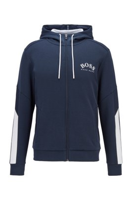 Regular-fit hooded sweatshirt with color-block sleeve detail, Dark Blue
