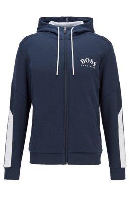 Regular-fit hooded sweatshirt with color-block sleeve detail, Dark Blue