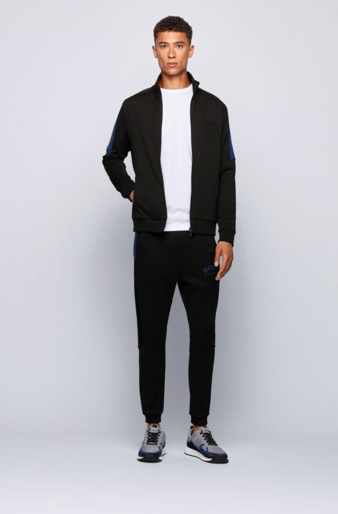 Zippered sweatshirt with color-block sleeves