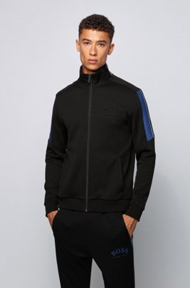 Zippered sweatshirt with color-block sleeves, Black