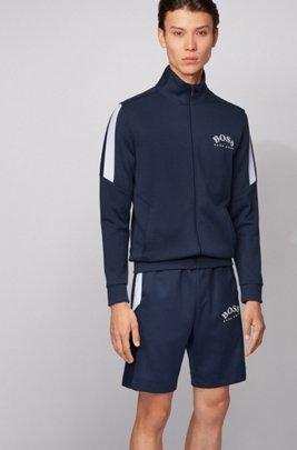 Zippered sweatshirt with color-block sleeves, Dark Blue