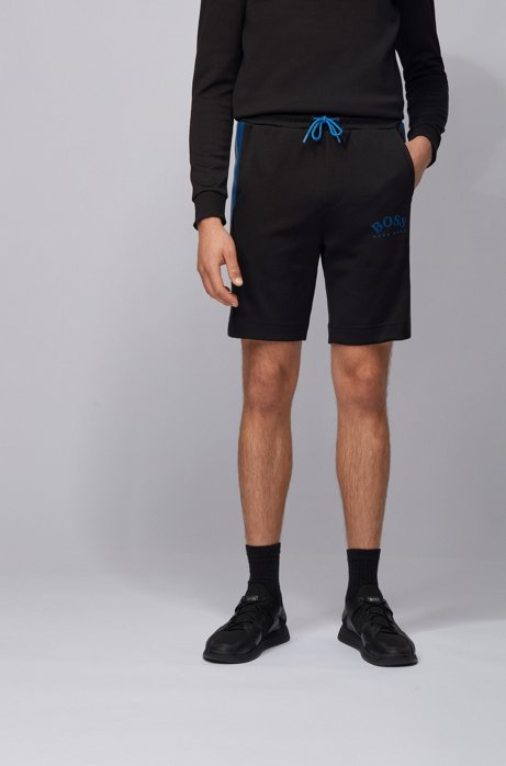 Slim-fit jersey shorts with color-block insert, Black