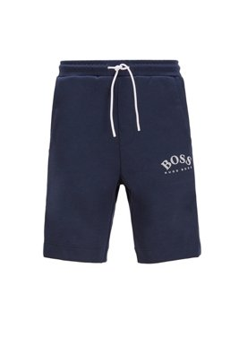Slim-fit jersey shorts with color-block insert, Dark Blue