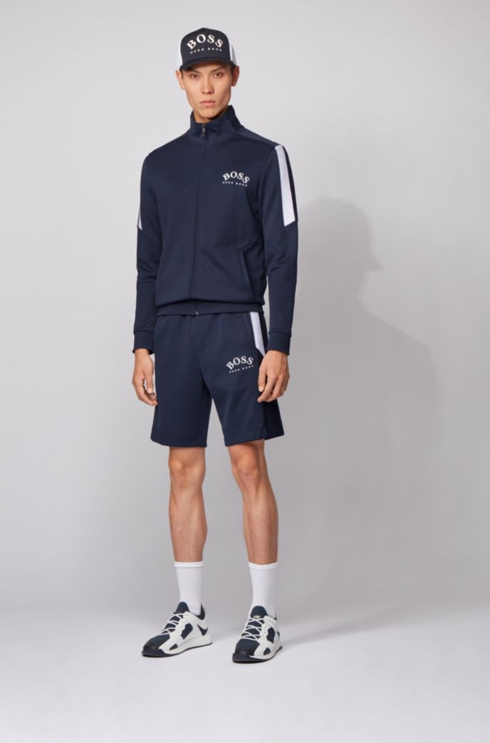 Slim-fit jersey shorts with color-block insert