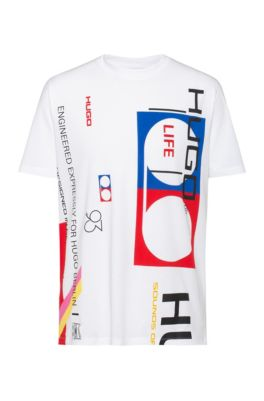 Relaxed-fit T-shirt in cotton with collection artwork, White