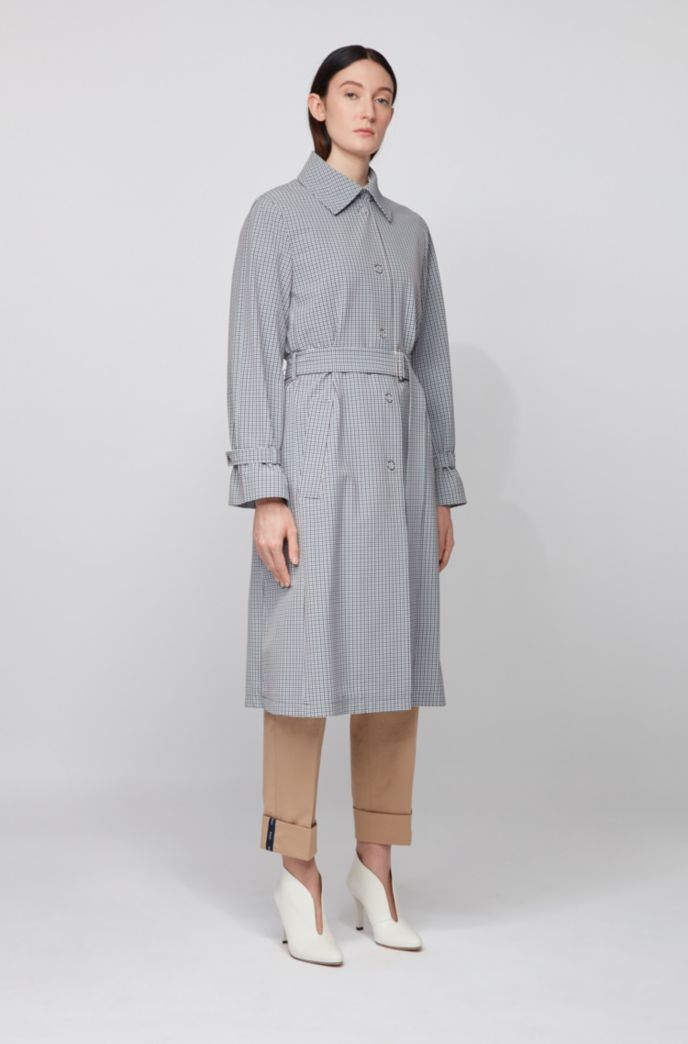 Trench coat in stretch fabric with pepita check